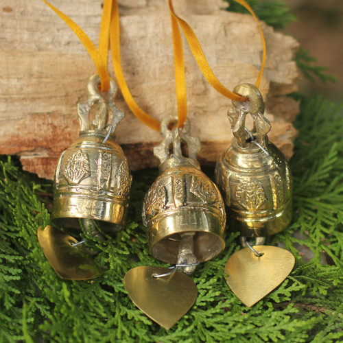 Set of 3 Brass Ornaments Crafted by Hand (4.5 Inch) 'Buddhist Bells'