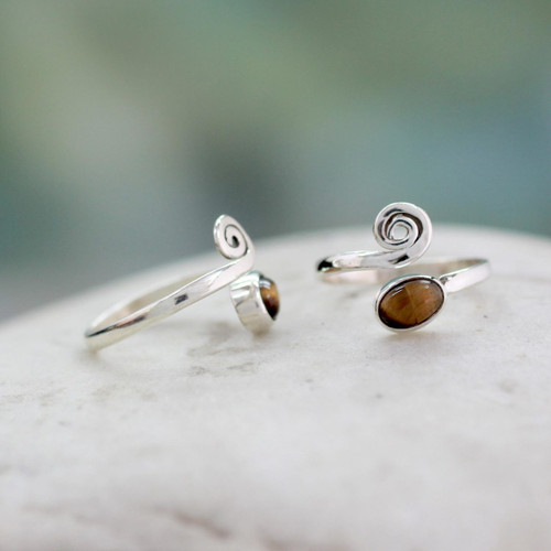 Tiger's Eye Sterling Silver Toe Rings from India (Pair) 'Insight'