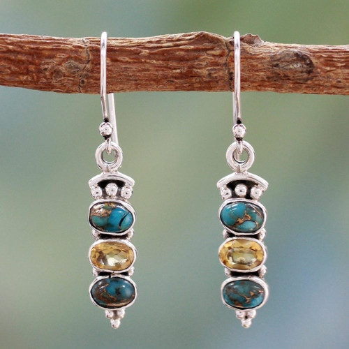 Citrine and Turquoise Earrings 'Golden Mystique'