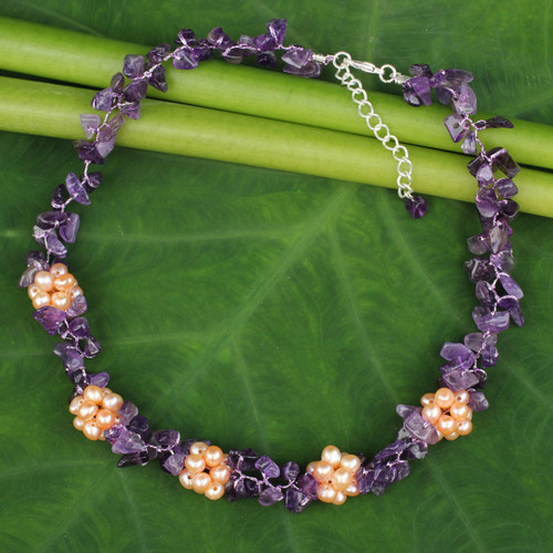 Thai Handmade Amethyst Necklace with Pearl Clusters 'Heaven's Gift'