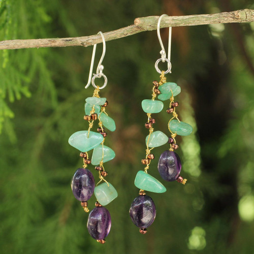 Handcrafted Aventurine and Amethyst Beaded Earrings 'Mystic Jungle'
