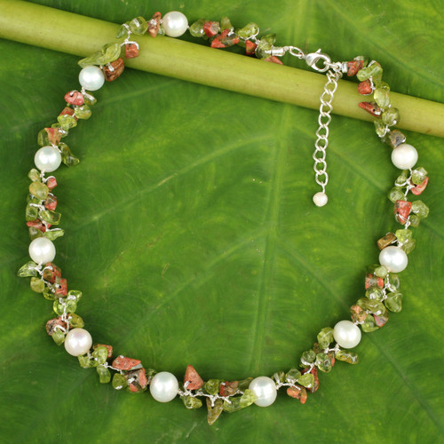 Hand Knotted Pearl Peridot and Unakite Choker Necklace 'Luscious Chic'