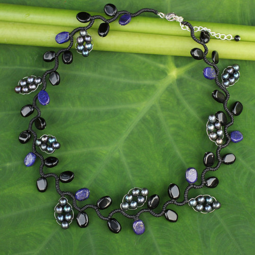 Artisan Jewelry Pearl and Gems Necklace 'Sweet Gray Ivy'