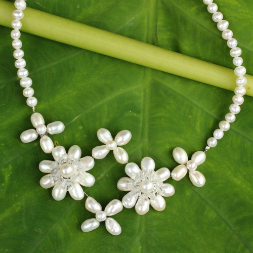 White Pearls and Clear Quartz Flower Necklace 'Quintet'
