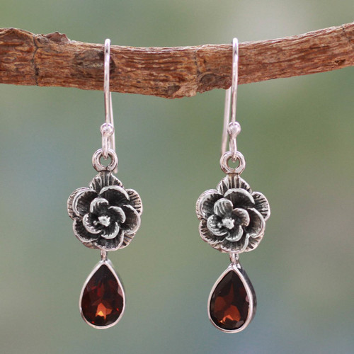 Garnet Floral Jewelry from India 'Scarlet Rose'