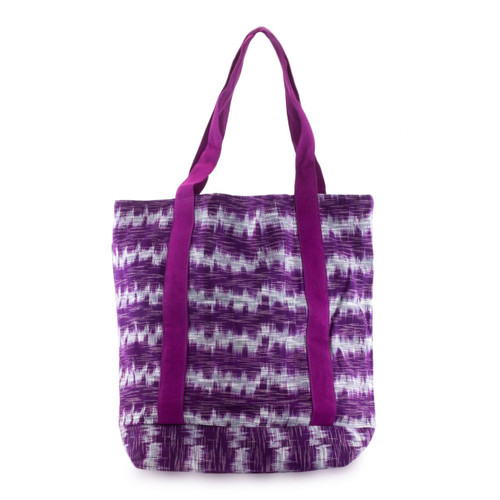 Purple Cotton Hand Woven Tote Shoulder Bag 'Amethyst Twilight'