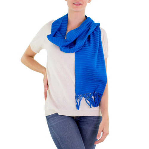 Blue Cotton Hand Woven Scarf 'Ocean Freshness'