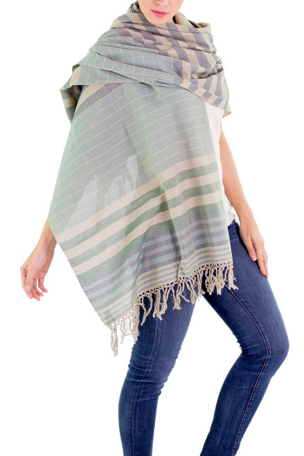 Handwoven Striped Cotton Shawl 'Verdant Comalapa Breeze'