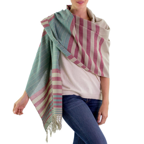 Handwoven Striped Cotton Shawl 'Maroon Comalapa Breeze'