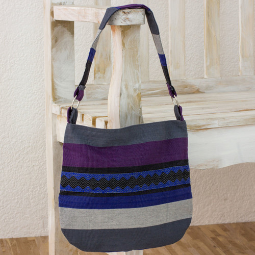 Guatemalan Cotton Shoulder Bag Lined 'Luscious Gray'
