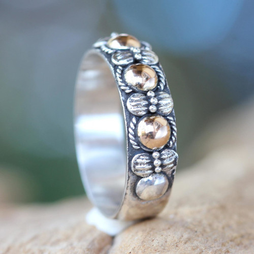 Hand Crafted Silver Ring with Accents in 18k Gold 'Five Moons'