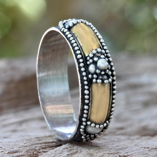 Hand Crafted Silver Ring with Accents in 18k Gold 'Royal Temple'