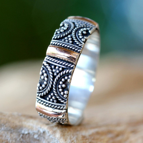 Gold Accent Silver Band Ring 'Sands of Time'