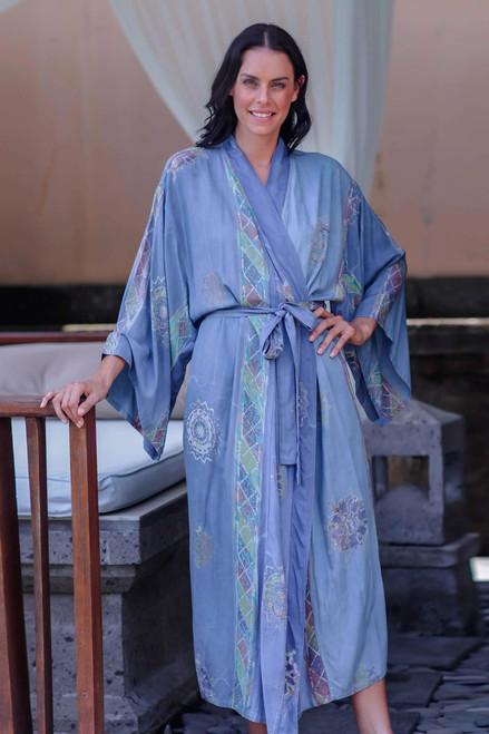 Long Rayon Batik Women's Robe 'Vintage Baliku'