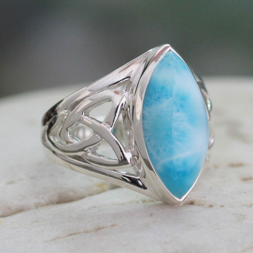 Modern Larimar Ring in Sterling Silver 'Halcyon Sky'