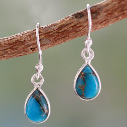 Composite Turquoise on Sterling Silver Earrings 'Beautiful Blue Goddess'