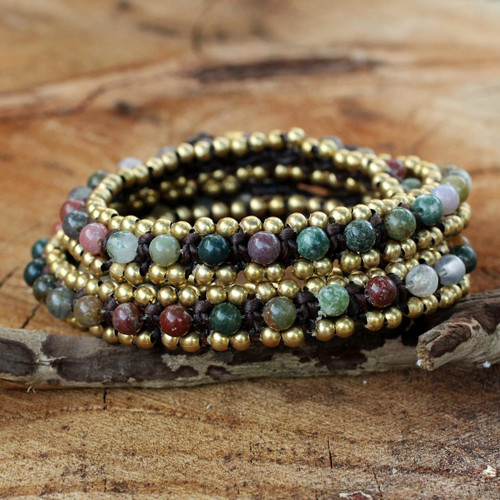 Hand Knotted Thai Agate Bracelet with Brass Beads 'Happiness and Joy'