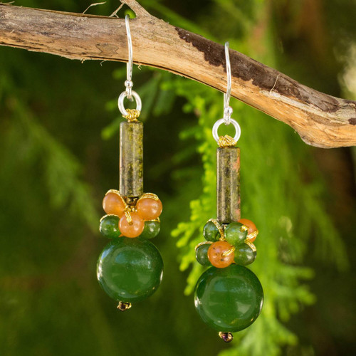 Thai Handmade Unakite and Quartz Beaded Earrings 'Scenic Green'