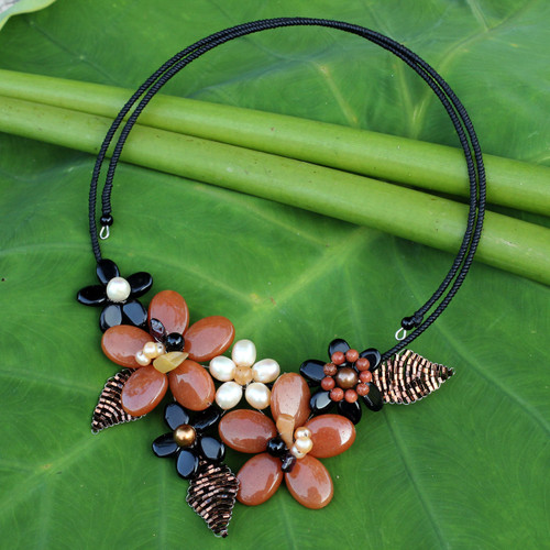 Fair Trade Floral Pearl and Onyx Choker 'Ginger Bouquet'