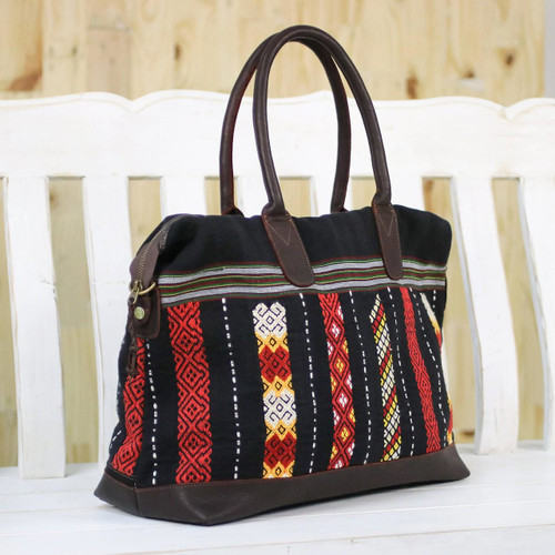 Leather Accent Tribal Cotton Shoulder Bag 'Naga Midnight'