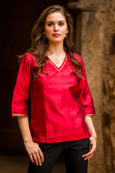 Embellished Silk Tunic Blouse from India 'Grand Ruby'