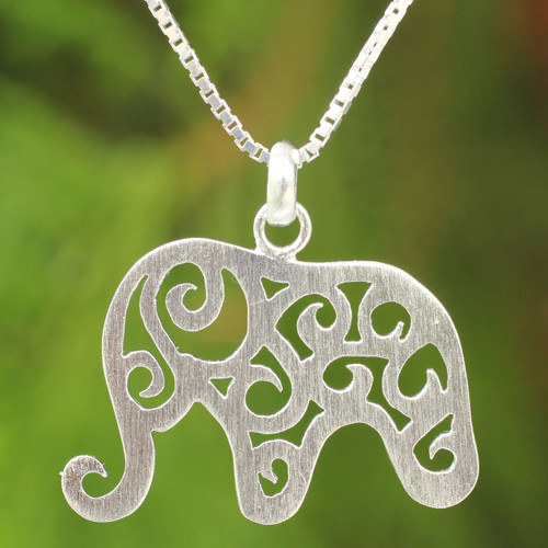 Handcrafted Sterling Silver Thai Elephant Necklace 'Elephant Arabesque'