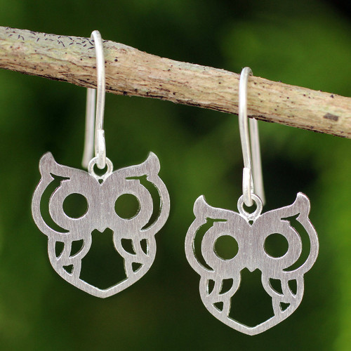 Artisan Crafted Silver Owl Earrings 'Perky Owl'