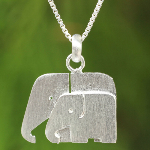 Brushed Silver Thai Elephant Necklace 'Side by Side'