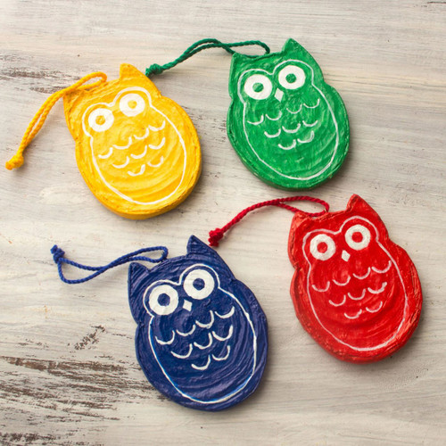 Artisan Crafted Recycled Paper Ornaments (set of 4) 'Joyous Owls'