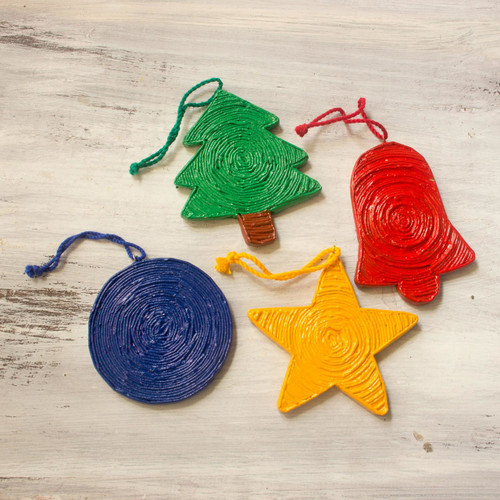 Handcrafted Recycled Paper Christmas Ornaments (set of 4) 'Joyous Christmas'