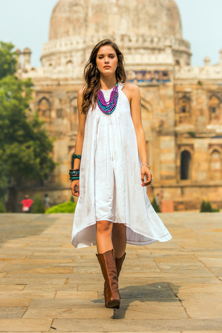 Indian Smocked White Cotton Sundress for Women 'Indian Summer'
