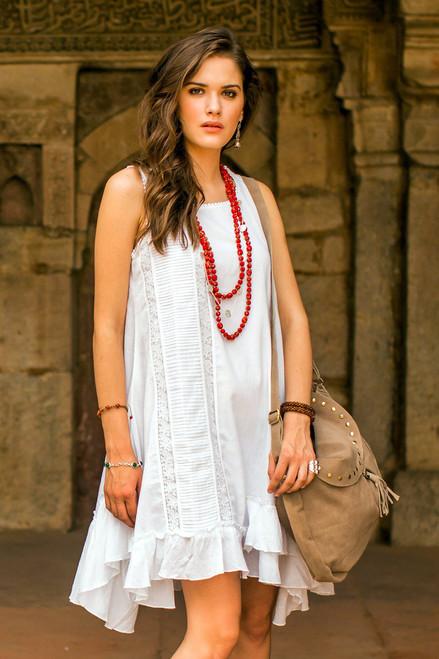 White Cotton Sleeveless Sundress from India 'Florid Fun'