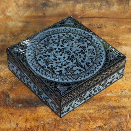 Handcrafted Lacquered Wood Decorative Box 'Floral Thai'