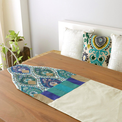 India Embroidered Applique Table Runner 'Indian Palace'