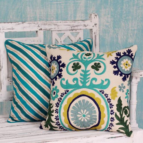 Two Embroidered Cushion Covers in Aqua Tones from India 'Aqua Fusion'