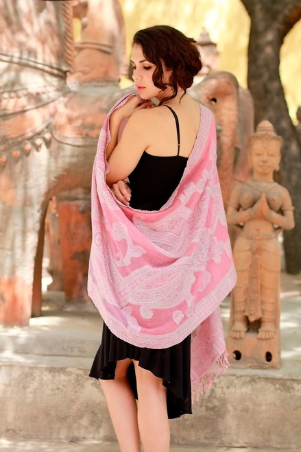 Warm Wool Jamawar Shawl Wrap 'Pastel Dreams'