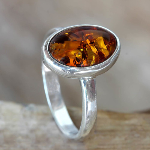 Natural Amber on Sterling Silver Ring 'Harmony Sunset'