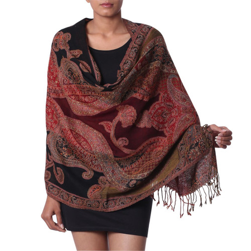 Multi Colored Wool Jamawar Shawl Wrap 'Mughal Exuberance'