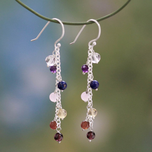 Gemstone Chakra Theme Waterfall Earrings 'Tranquility'