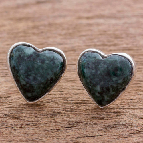 Dark Green Jade Heart Earrings Artisan Crafted Jewelry 'Love Sacred'