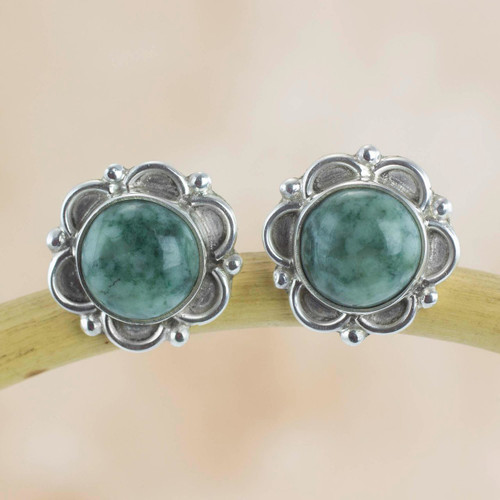 Guatemalan Hand Crafted Light Green Jade Earrings 'Forest Princess'