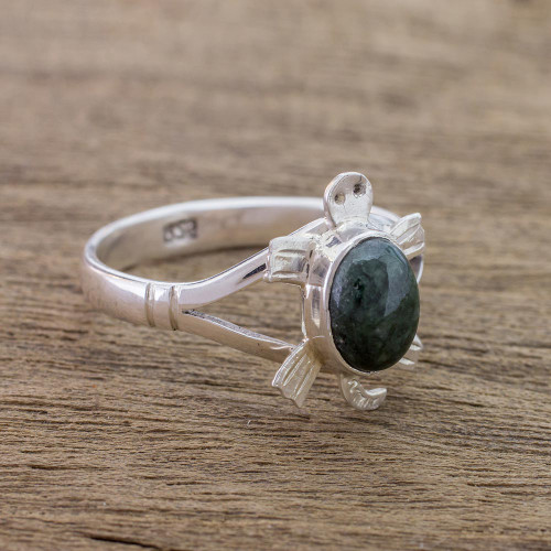 Sterling Silver Ring with Jade Artisan Crafted Jewelry 'Dark Green Marine Turtle'
