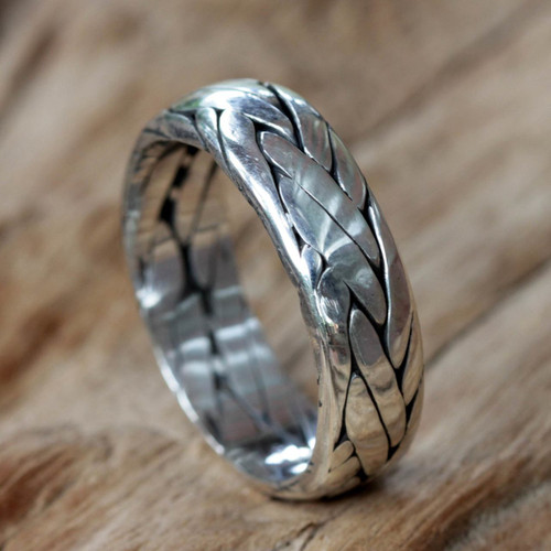 Unisex Braided Sterling Silver Ring from Bali 'Singaraja Weave'