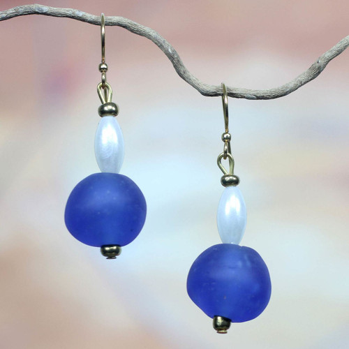 Handmade Recycled Glass Earrings 'Timeless'