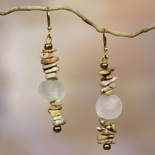Handcrafted African Agate Earrings 'Currency'