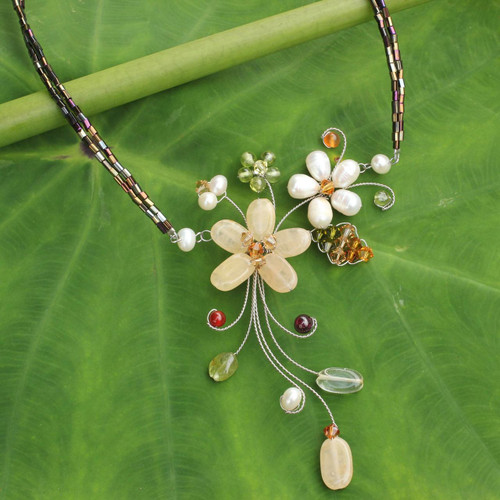 Handmade Pearl and Gemstone Floral Choker 'Honey Lily'