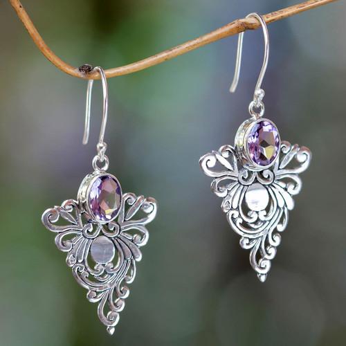 Artisan Crafted Amethyst Dangle Earrings 'Java Peacock'