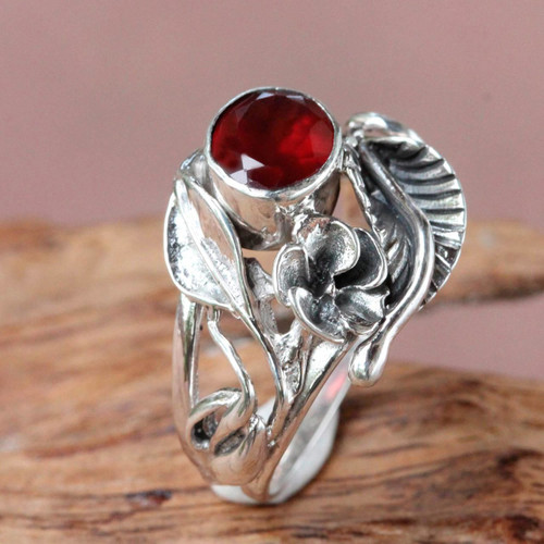 Fair Trade Floral Garnet and Silver Ring 'Frangipani Bouquet'