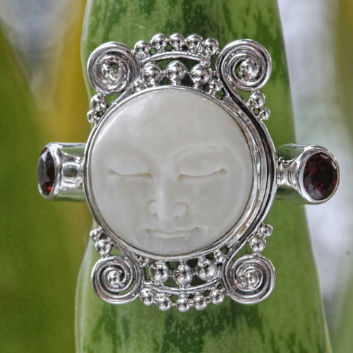 Garnet and Carved Bone Silver Ring 'Moon Dream'