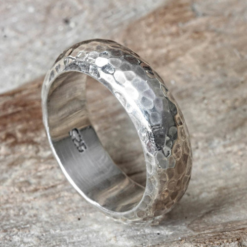 Bali Hammered Silver Band Ring 'Moon Walker'